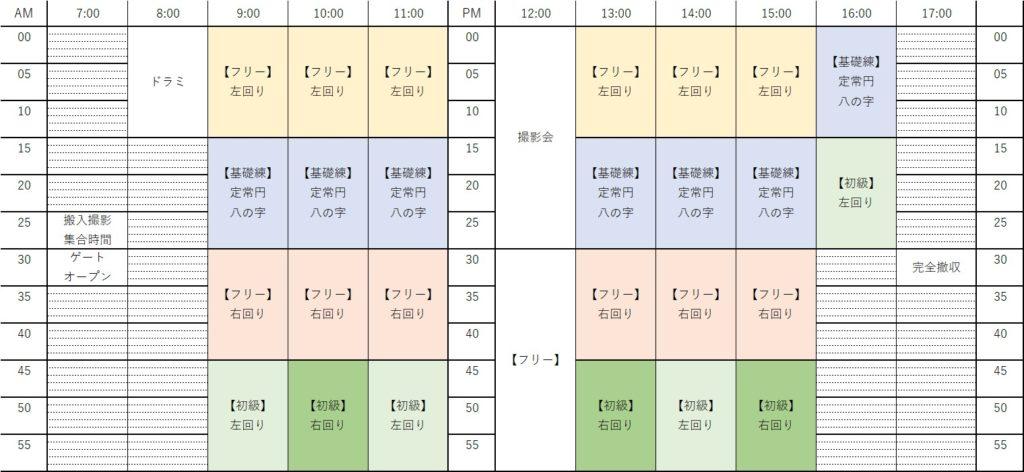 つぶおふ3走行会タイムスケジュール